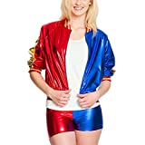 costume Harley Quinn per le donne 2 pezzi, giacca e pantaloni caldi molto leggero, materiale lucido costume sexy per gli appassionati di Suicide Squad Colore rosso, blu