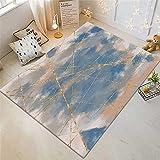 Xiaosua alfombras Online Azul Alfombra de Sala de Estar Azul borroso patrón Vintage patrón Duradero Anti-ácaros Alfombra Silla Gaming 100X200CM moqueta 3ft 3.4''X6ft 6.7''