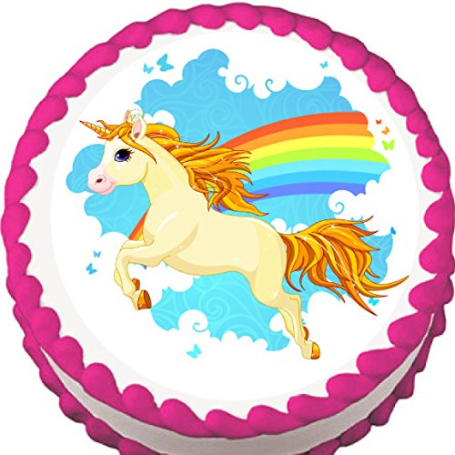 Unicorn and Rainbow Edible Cake Topper