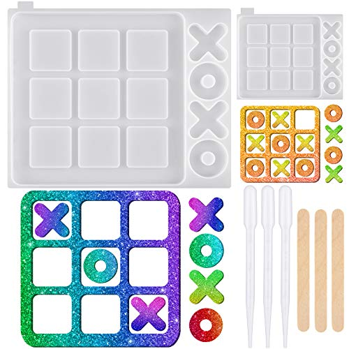 2 Pieces Tic Tac Toe Silicone Molds 2 Sizes XO Board Game Resin Molds Table Game Epoxy Casting Mold...