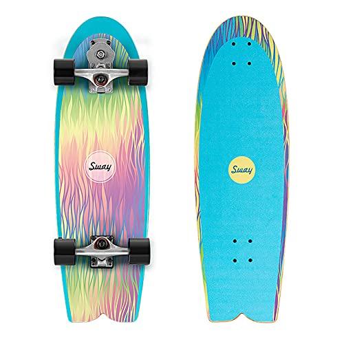 VOMI Pumpping Carving Skateboard P7 Truck (Eje dirección bidireccional + Indy) Land Surfing Surf Skates ABEC-11 Rodamientos, 81×25cm Tabla Completa Arce, para Adolescentes Adultos Pro,A
