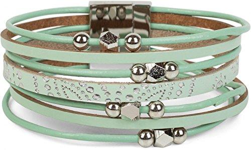 styleBREAKER Armband mit Ornament Muster, Schmuck Perlen und Bändern, Magnetverschluss, Armschmuck, Damen 05040098, Farbe:Mint
