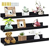 24 Inch Black Wall Mounted Floating Shelves Set of 3, Picture Shelving Ledge for Kitchen, Living Room, Bedroom, Office