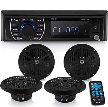 Marine Head Unit Receiver Speaker Kit - In-Dash LCD Digital Stereo Built-in Bluetooth & Microphone w/ AM FM Radio System 6.5'' Waterproof Speakers  4  MP3/SD Readers & Remote Control - Pyle PLMRKT48BK