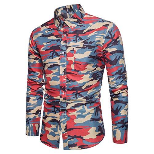 ZHUQI Mens Shirt Men Shirt Business Casual Camouflage Lapel Long Sleeve Men Shirt New Trend Slim Long Sleeve Shirt Casual Youth Shirt All-Match Men Shirt Fashion Men's Tops F-Red L