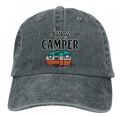 Happy Camper Denim-Kappen für Erwachsene, zum Wandern, Camping, unkonstruiert, Dunkelgrau