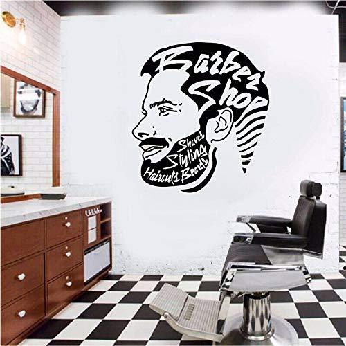 WSYYW Barbershop Wall Decal Hairdresser Men Style Decor Wallpaper Vinyl Sticker Barbershop Decoration Design Mural A3 57X63CM
