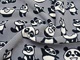 Bedruckter Fleecestoff mit Panda-Motiv, Meterware,