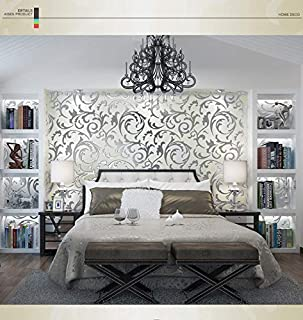 Buedvo Non-Woven Wallpaper, 1x10M Luxury Silver 3D Damask Embossed Wallpaper Rolls Home Art Decor for TV Background Bedroom and Living Room