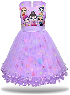 MagJazzy Girls Tutu Princess Dress Doll Digital Print Sleeveless Pageant Gown Dress for Doll Surprised