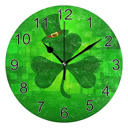 Gokruati Reloj de Pared silencioso,Reloj de Cocina,Relojes de Cuarzo silencioso Que no Hace tictac,para Sala de Estar,dormitorios,(Diámetro: 25 cm),Trébol Hojas Sombrero Pared Día San Patricio
