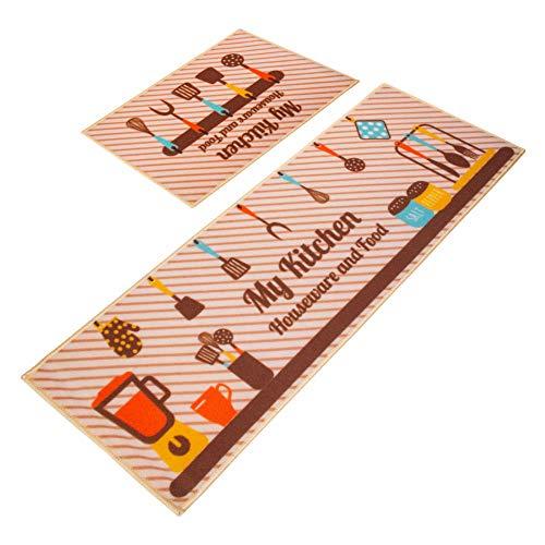 LY4U 2 pièces Tapis de Sol de Cuisine antidérapant Tapis de Sol Tapis de Sol Ensemble pour Salon de Cuisine (40 * 60 cm + 40 * 120 cm)