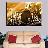 Surfilter HD Pinter Drum Kit Pictures Pintura de lienzo Instrumentos musicales Pósters de pared para sala de estar Decoración de la casa 50x75cm 20x30 pulgadas Sin marco