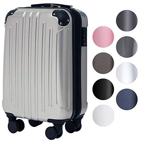 スーツケース アイリスプラザ キャリーバッグ 機内持込 軽量 Sサイズ 40L 軽量 拡張機能付 ダブルキャスター 1~3泊 旅行 シルバー