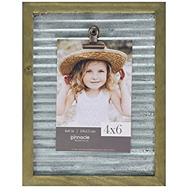 Pinnacle Frames and Accents 7x9 Galvanized Corrugated Metal Clip Frame Tabletop Picture, Silver