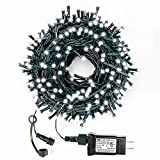 Decute Cool White Christmas String Lights Waterproof 300LED 105FT UL Certified with End-to-End Plug 8 Modes, Outdoor Indoor Starry Fairy Lights for Christmas Tree Patio Garden Wedding Party Decor