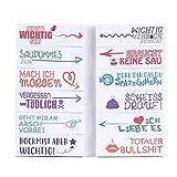 600 Blätter Lustige Haftnotizen (12 x 50 Blatt) - Bunte Klebezettel für Studenten - als Büro Gadgets zum Markieren und Geschenk Idee