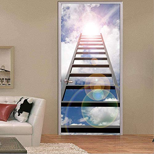 3D Pegatinas de puerta murales Calcomanías Sala De Estar Extraíble Arte De La Pared Inicio Escalera Bajo El Cielo Azul 77cmx200cm
