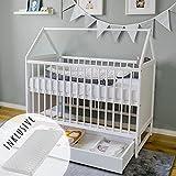 Babybett mit Matratze und Schublade Gitterbett Kinderbett Hausbett 60x120 cm weiß höhenverstellbar und umbaubar Beistellbett 60 x 120