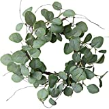 idyllic Eucalyptus Leaves Wreath Metal Polyester Fabric Paper Round Green Wreath 16 Inches...