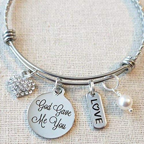 God Gave Me You Bracelet, Wedding Gift to Wife, Gift from Mom to Daughter Bangle Bracelet, Blended Family Gifts for Her, Adoption Gifts, Religious Jewelry, Gift for Stepdaughter