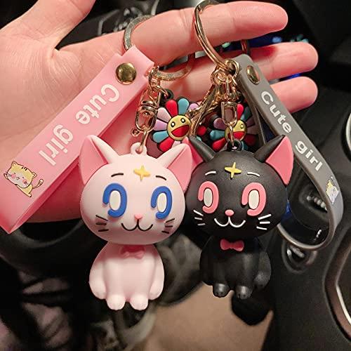 2 Uds Sailor Moon Anime Tsukino Usagi Cosplay Accesorios Mujeres Niñas 3D Lindo Luna Kitty Colgante Llavero De Gel De Sílice Llavero Juguetes