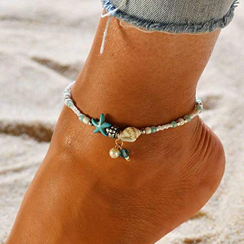 Zoestar Boho Starfish Anklet Ankle Bracelet Foot Chain Shell with Beaded Accessories Foot Jewelry for Women and Girls (Color 7)
