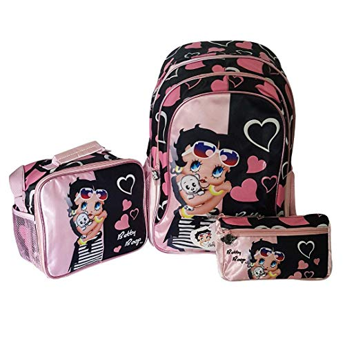 Betty Boop School Backpack, Lunch Bag and Pencil Case, Large Spacious, Light Weight Betty Boop Luggage, Superior Designs and Quality for Younger and Teen age Girls, in Pink and Black. (Set of 3 items)