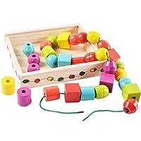 Lewo Perline in Legno di Grandi Dimensioni per Bambini Giocattoli educativi Montessori 30 Pezzi con 2 Corde #2