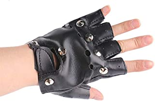 BinaryABC Halloween Costume Gloves,Punk Rock Gloves,Pu Half Finger Gloves, Halloween Cosplay Accessory
