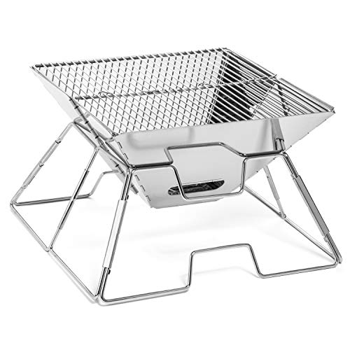 Typhon East Portable Stainless Steel Charcoal BBQ Grill w/Carry Bag - Foldable - Perfect for Tailgating, Camping, and Backpacking
