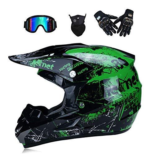 QHYXT Motocross Casco Off-Road Montaña Bicicleta Cross Helmet Scooter Sand Car Prevenir colisión Rostro Completo Hombres Adultos Mujeres (Guantes Máscaras Máscara para Regalo),Green-S