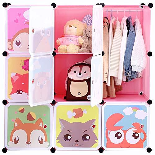 BRIAN & DANY Kinderregal Kinder Kleiderschrank Stufenregal Bücherregal mit Türen, tiefere Fächer als normal (45 cm vs. 35 cm), 110 x 47 x 110 cm Rosa