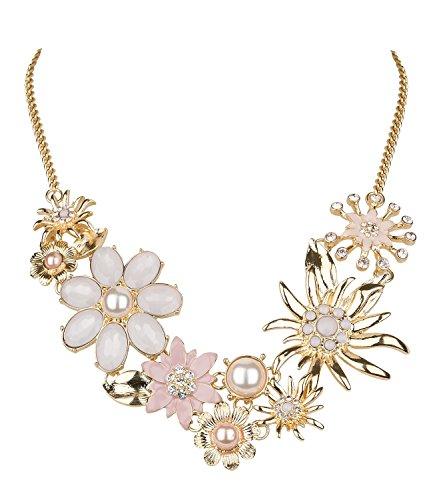 SIX Statementkette in rosè-goldfarben mit verschiedenen Blumen, Edelweißblüten, Perlen und Strass, eng anliegend, Oktoberfest, Karneval (730-506)
