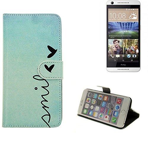 K-S-Trade Schutzhülle Kompatibel Mit HTC Desire 620G Dual SIM Hülle Wallet Case Flip Cover Tasche Bookstyle Etui Handyhülle ''Smile'' Türkis Standfunktion Kameraschutz (1Stk)