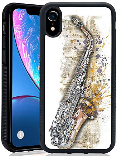 iPhone Xr Case Saxophone Painting Soft Black TPU Rubber and PC Anti-Slip Grip Cover Case, Shockproof Defend Protective Phone Case for iPhone Xr