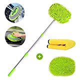 Helloleiboo 2 in 1 Chenille Microfiber Car Wash Mop Mitt and Microfiber Cleaning Cloths Kits Aluminum Alloy Extension Pole Long Handle Car Detailing Kit with Soft Brush Head