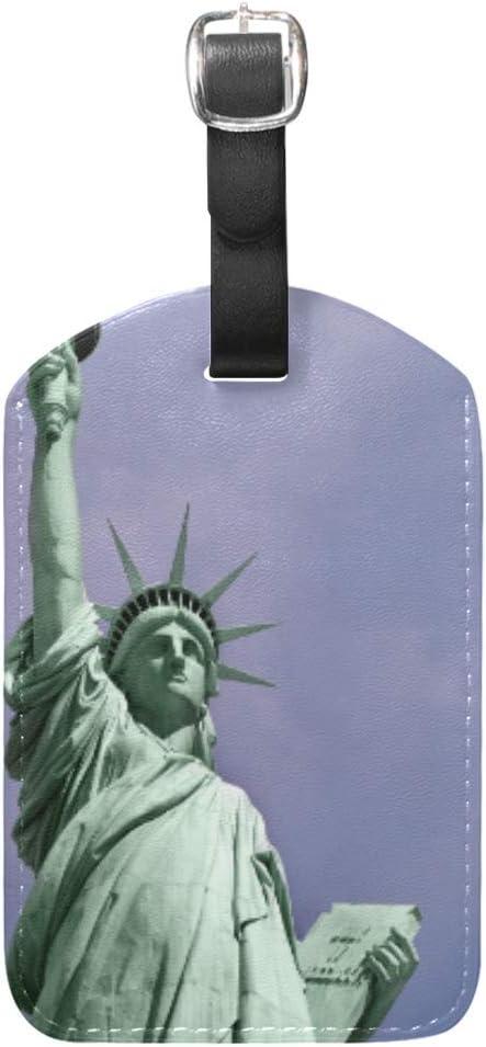 Estatua Azul De Nueva York Equipaje Etiquetas de Maleta Nombre Etiqueta de Dirección ID de Cuero para Viajes(2piezas)