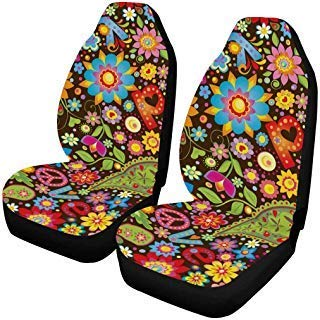 InterestPrint Funny Hippie Peace Sign Paisley Flowers Auto Seat Protector 2 Pack, Vehicle Seat Protector Car Mat Covers, Fit Most Vehicle, Cars, Sedan, Truck, SUV, Van