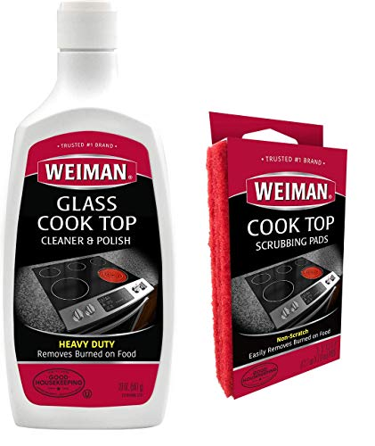 Weiman Ceramic and Glass Cooktop Cleaner and Polish - 20 Ounce 3 Pads - Heavy Duty Cooktop Scrubbing Pads - Shines and Protects Glass and Ceramic Smooth Top Ranges with its Gentle Formula