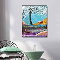 キャンバスペインティング 壁アートキャンバスモダン抽象油絵白鳥湖の木の風景リビングルームの家の装飾のポスターやプリントの壁の写真 50x75cm