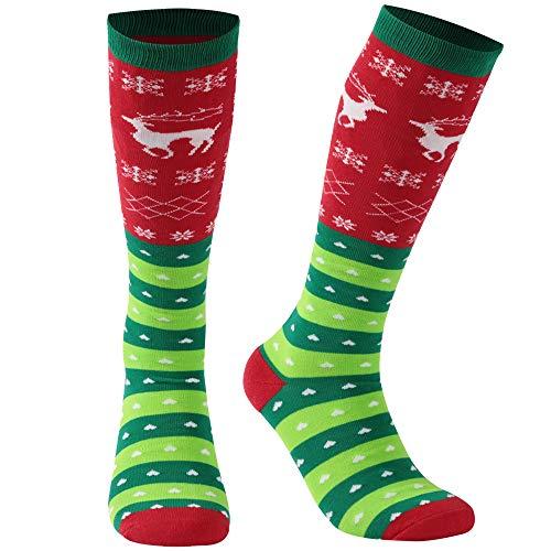 Cartoon Christmas Socks, Gmall Women Men Green Red Reindeer Knee High Tube Festival Socks for Halloween Decorations Christmas New Year 1 Pair