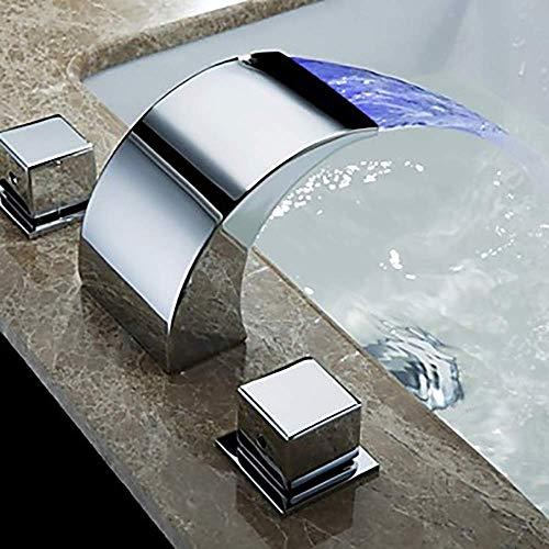 DJY-JY Moderno plata y blanco baño grifo del fregadero - cascada tres agujeros/dos manija tres agujero bañera grifo/latón disfrute grifo de la cocina