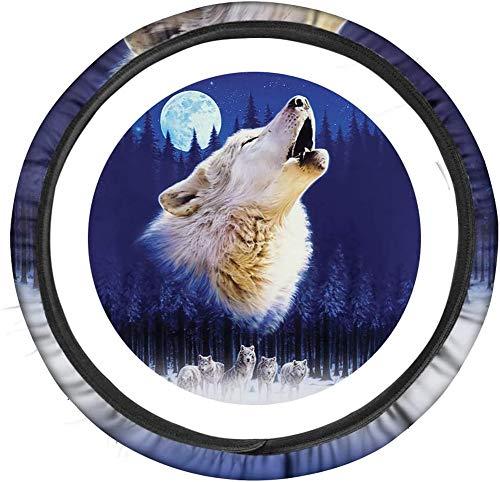 SEANATIVE Funda universal para rueda de coche, diseño de lobo con diseño de animales y luna
