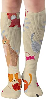 Cute Cats Kittens Pets Animals Tube Knee High Socks 50Cm Unisex Over-The-Calf Tube Sports Socks Extra Long Compression Stocking