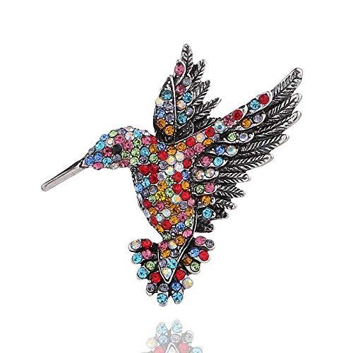 COJJ Broche de colibrí con Incrustaciones de Diamantes, Broche de Animal Personalizado, prendedor de Ropa, Hebilla de Bufanda, 2 Colores de Doble Uso