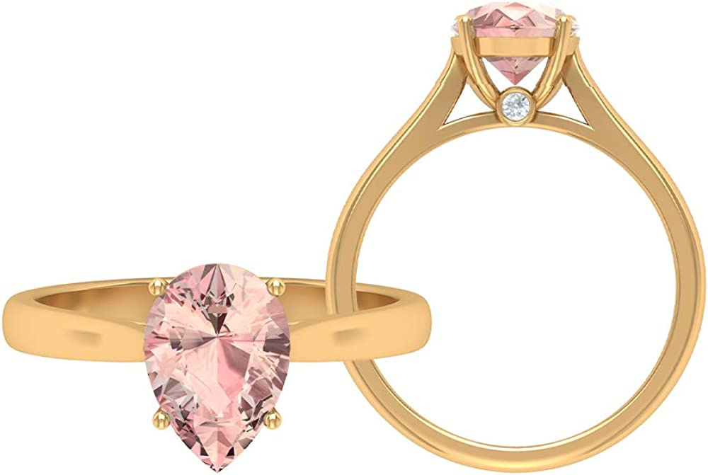 2 CT Solitaire Ring with Lab Max 40% OFF Moissanite Morganite Inexpensive 7 Created and