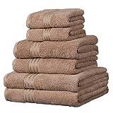 Linens Limited 6 Toallas de Hotel - 100% extraordinario algodón Egipcio - Café con Leche