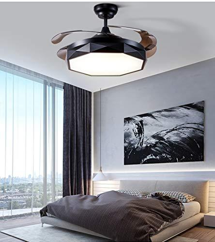 Luz de ventilador de techo invisible, sala de estar Moderno Minimalista Dormitorio Comedor Ventilador de techo con ventilador eléctrico LED Araña Fan Light (Color : Negro)