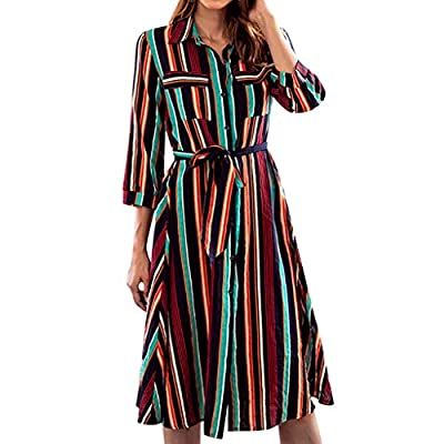 Muranba Womens Dresses Long Sleeve Striped Multicolor Loose Button Bohe Beach Dress with Belt